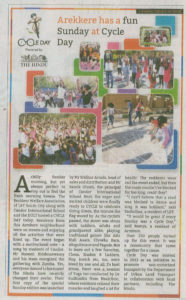 Arekere cycle day article published in today's Hindu newspaper!!!