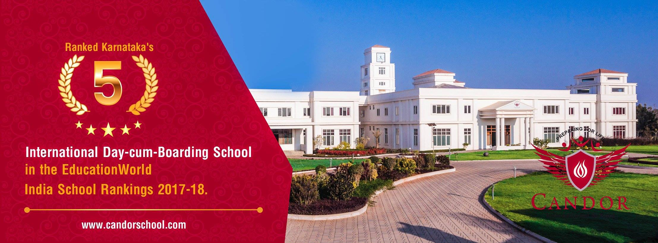 Candor International School is ranked Karnataka's No. 5 International Day-cum-Boarding School in the Education World India School Rankings 2017-18
