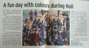 A fun day with colours during Holi - March 16, 2015 (Times of India) (Report by Rithvik Papani and Rishi Papani, Grade 7)