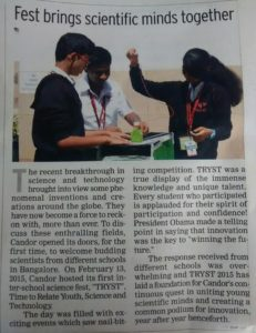 Fest brings scientific minds together - March 3, 2015 (Times of India)