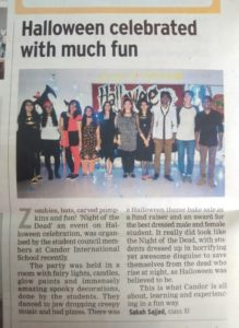 Halloween celebrated with much fun - November 10, 2014 (Times of India) (Report by Sabah Sajjad, Grade 11)