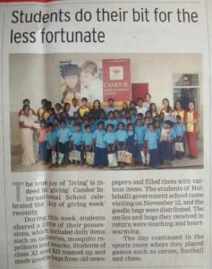 Students do their bit for the less fortunate - December 10, 2014 (Times of India)